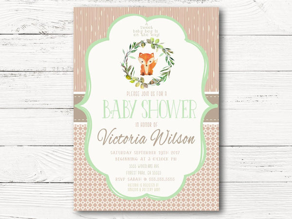 Woodland Baby Shower Invitation, Woodland Animals Baby Shower, Baby Boy Invite, Fox Gender Reveal Invitation, Fall Shower Invite, C058