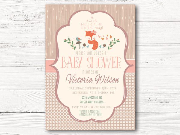 Woodland Baby Shower Invitation, Woodland Animals Baby Shower, Baby Girl Invite, Fox Gender Reveal Invitation, Fall Shower Invite, C059