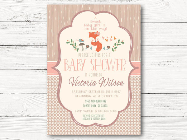 Digital Woodland Baby Shower Invitation, Woodland Animals Baby Shower, Baby Girl Invite, Fox Gender Reveal Invite, Fall Shower Invite, C059