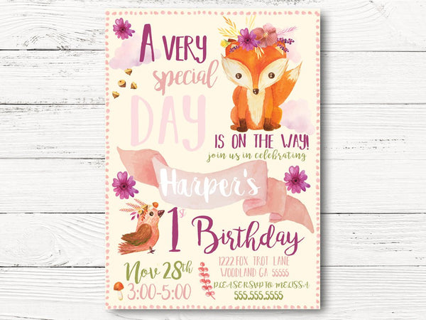 Girl's Wild One Tribal Fox Invitation, Wild One Invite,  Feathers and Arrows Invitation, Pow Wow Invite,  C061