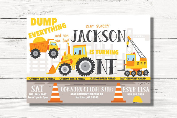Digital Construction Birthday Invitation, Dump Truck Invite,  Construction Party, Diggers and Dump Truck Invite, 1st Birthday Party, C062