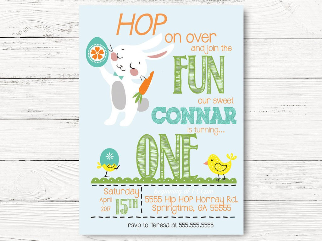 Easter First Birthday Invitation, Bunny Themed Party,  Spring Party Invites, Springtime Birthday Party, Easter Birthday Party, C042