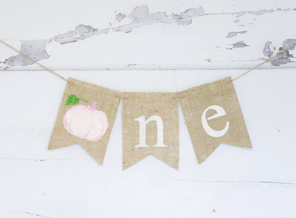Fall First Birthday Decoration, Watercolor Pumpkin 1st Birthday Banner, Pink Pumpkin Highchair Banner, B871