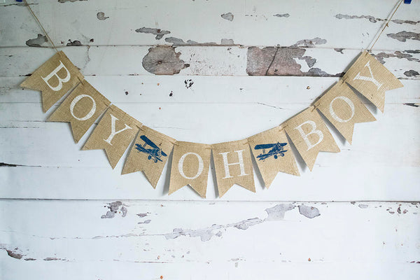 Plane Baby Shower Decor, Boy Oh Boy Airplane Banner, Vintage Airplane Decoration,  Baby Boy Shower, Plane Shower Decoration, B671