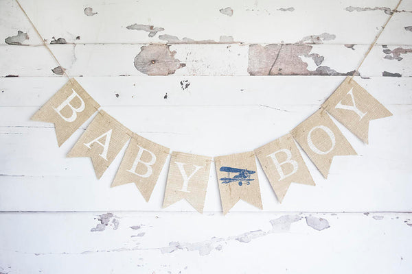 Airplane Baby Shower Decor, Baby Boy Plane Banner, Airplane Decoration, Vintage Airplane Sign,  Baby Boy Shower, Airplane Shower Decor, B686