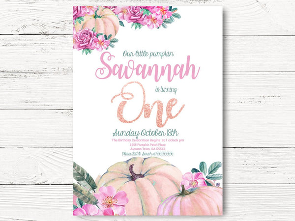 Digital Fall Birthday Invitation, Our Little Pumpkin is Turning One Invite, Pumpkin Invite, Baby Girl Invite, 1st Birthday Invitation, C079
