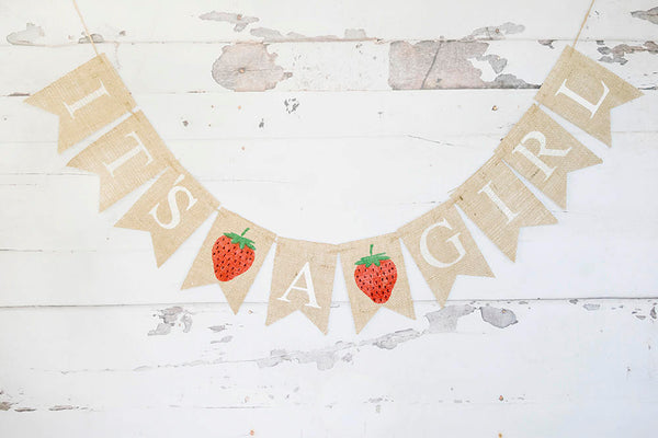Strawberry Baby Shower Decor, It's A Strawberry Girl Banner, Strawberry Nursery Sign, Summer Gender Reveal, Baby Shower Garland, B741
