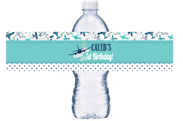 Airplane First Birthday Water Bottle Label,Let the Adventure Begin Wrap, Aviator Adhesive Bottle Wrap, Airplane Birthday Party BL043