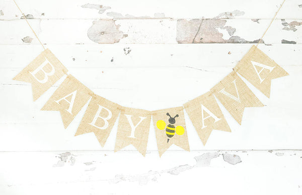 Bumble Bee Baby Shower Decor, Bumble Bee Birthday Party Banner, Honeybee Baby Shower Garland, Custom Bee Baby Shower Sign, B750