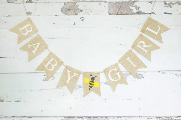 Bumble Bee Baby Shower Decor, It's A Girl Bee Banner, Bumble Bee Nursery Sign, Bee Gender Reveal, Baby Shower Garland, B754