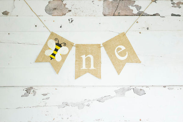 Bumble Bee Decorations, Bee One Banner, Bumble Bee 1st Birthday Party, Honey Bee Highchair Banner, Summer 1st Birthday Sign, B756