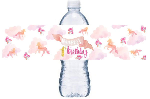 Unicorn Birthday  Water Bottle Labels,  Unicorn Bottle Wrap, Unicorn  Birthday Party, Little Girl Birthday Party Decor, , BL052