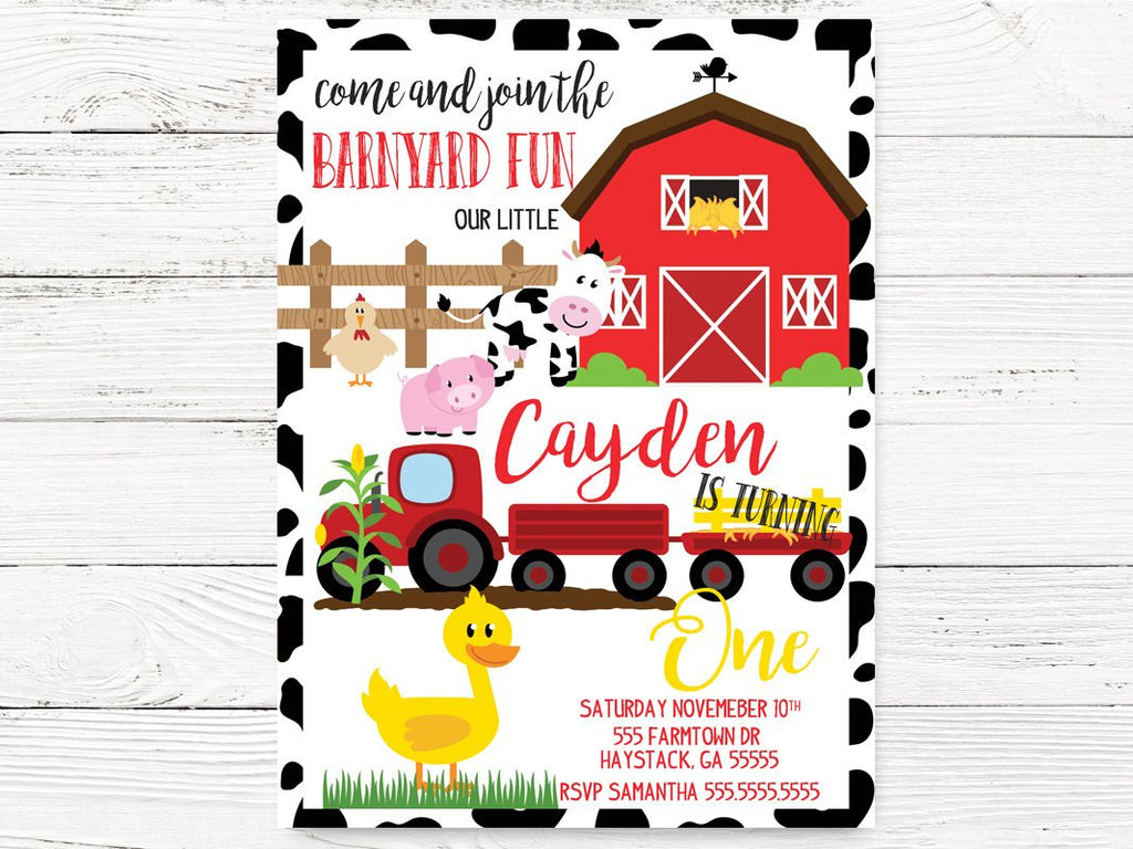 Digital Barnyard 1st Birthday Invitations