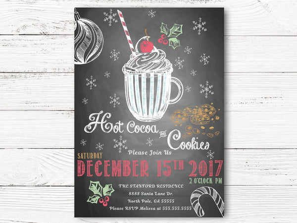 Christmas Party Invitations, Hot Cocoa and Cookies Invitation, Holiday Invitations, Xmas Invitations, Holiday Gathering Invitations, C031