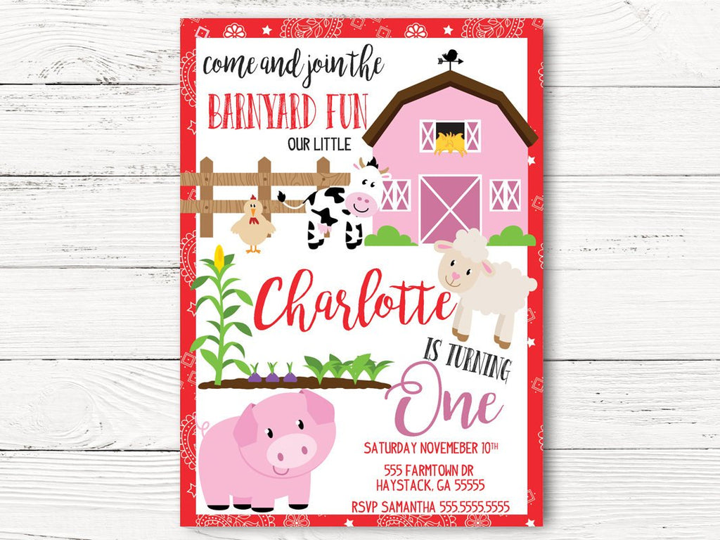 Barnyard  Birthday Invitation, Farm Theme Party Invite , Cowgirl Invitation , Barnyard Baby Girl Invite, First Birthday Invitation, C084