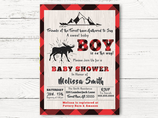 Lumberjack Baby Shower Invitation, Buffalo Plaid  Invitation, Wildness Invite, Baby Boy Shower Invitation, C048