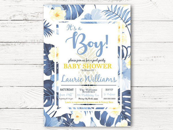 Digital Pool Party Baby Shower Invitation,  Hawaiian Floral Shower Invite , Baby Boy Shower Invitation, C052