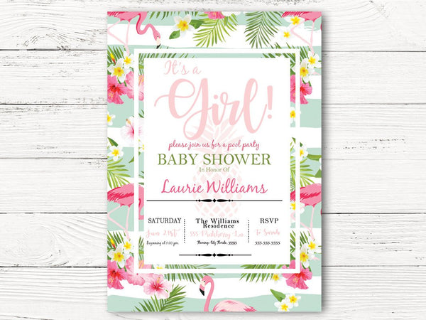 Digital Pool Party Baby Shower Invitation, Hawaiian Floral Shower Invite , Baby Girl  Shower Invitation, C053