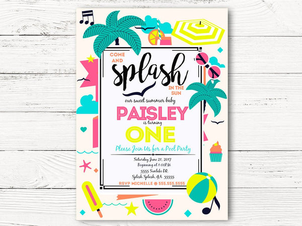Pool Party First Birthday Invitation, Summer Party  Invite, Baby Girl 1st Birthday Invitation, C056