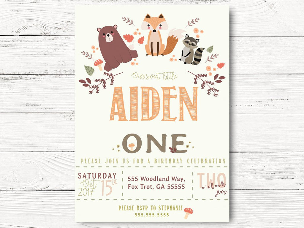 Digital Woodland Birthday Invite, Woodland First Birthday, Fall 1st Birthday Invite, Forest Animals Invite, Woodland Birthday Party, C060