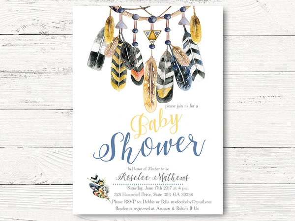 Tribal Baby Shower Invitation, Boho Baby shower invitation, Dream Catcher Baby Shower Invite, Feathers Arrows Invitation,  C064