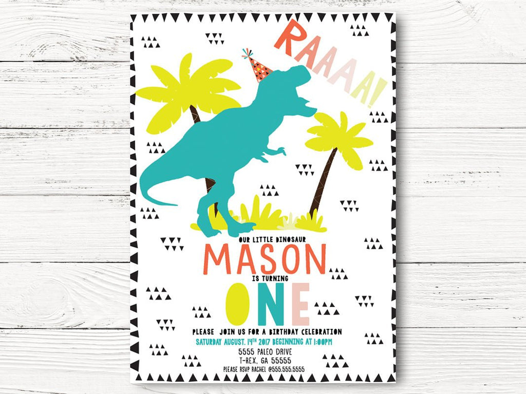 Digital Dinosaur Birthday Invitation Invite Dino Party