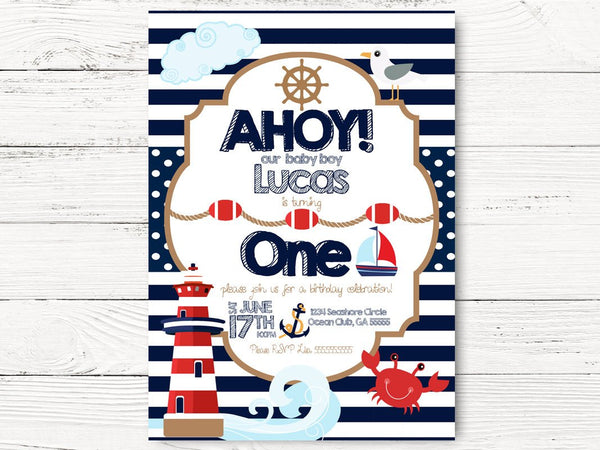 Nautical 1st Birthday, Nautical Party, Baby Boy Invite, Boat Birthday, First Birthday Invitation Ahoy Invite , C065