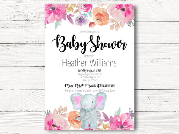 Elephant Baby Shower Invitation, Elephant Floral Baby Shower Invite, Watercolor Rose, Floral Girl Baby Shower Invite,  Little Peanut  C067