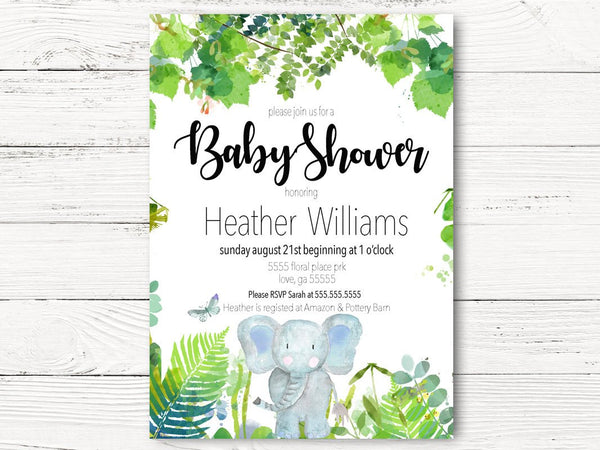 Baby Elephant Baby Shower Invitation, Baby Boy Shower Invite, Jungle  Watercolor Invitation, Elephant Party,  C068