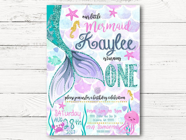 Digital Mermaid Birthday Invitation, Little Mermaid First Birthday Invite, Under The Sea Invitation Mermaid Party, Glitter  Invitation C071