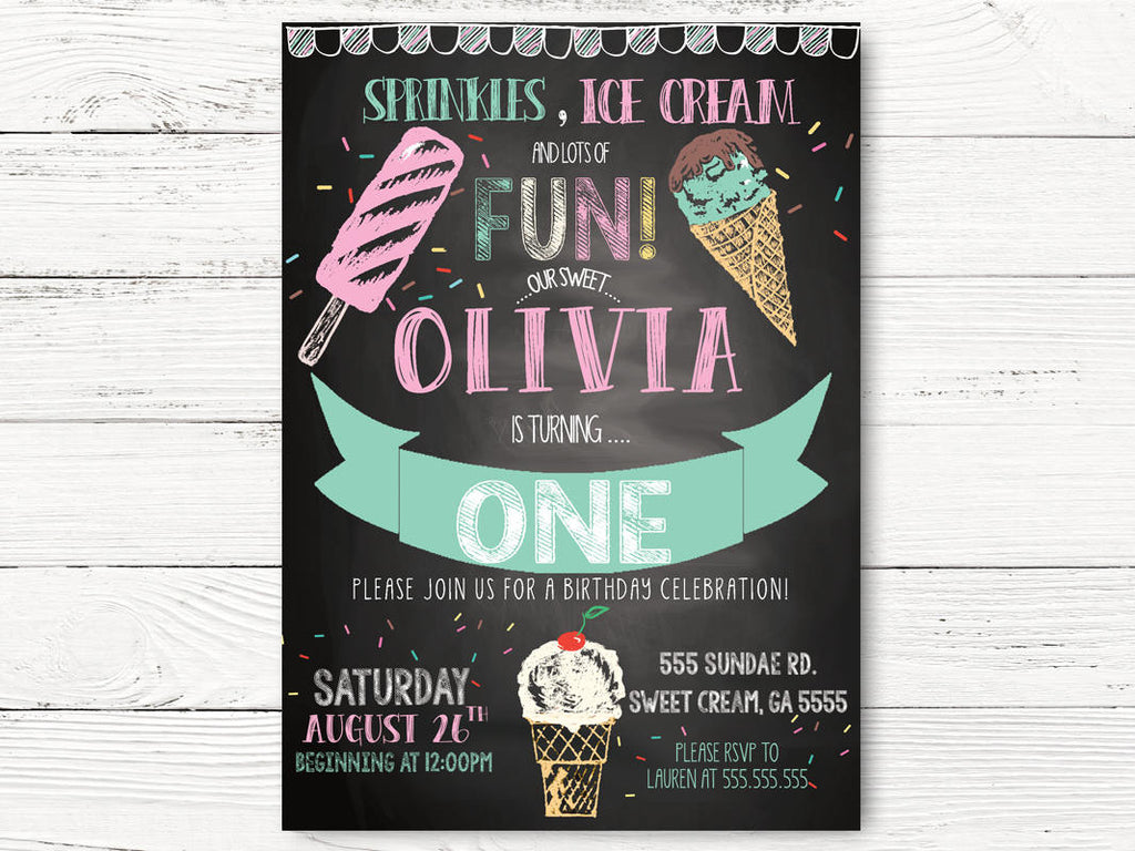 Ice Cream Birthday Invitation Girl First Personalized Social