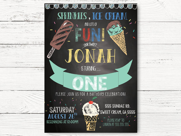 Ice Cream  Birthday Invitation Boyl First Birthday, Personalized Ice Cream Social Invitation, Boy 1st Birthday Invitation Cards, C076