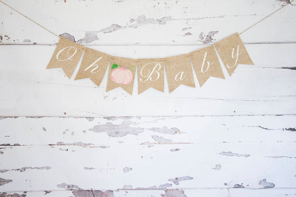 Fall Baby Shower Banner, Watercolor Pumpkin Banner, Pink Pumpkin Gender Reveal Banner, Oh Baby Banner, Autumn Baby Shower Decor, B593