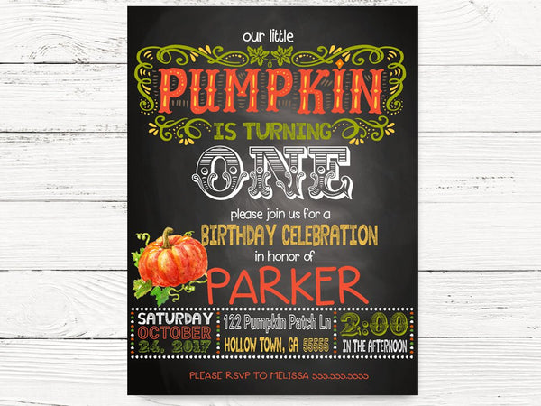 Pumpkin Birthday Invitation, Our Little Pumpkin is Turning One Invite, Baby Boy Fall First Birthday, Pumpkin 1st Birthday Invitations, C081