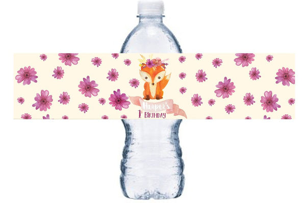 Woodland Girl Birthday Water Bottle Labels, Floral, Fox Bottle Wrap, Birthday Waterproof Adhesive Stickers, Woodland First Birthday BL047