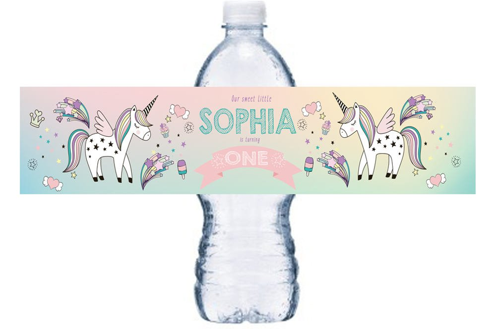 Unicorn 1st Birthday Bottle Label