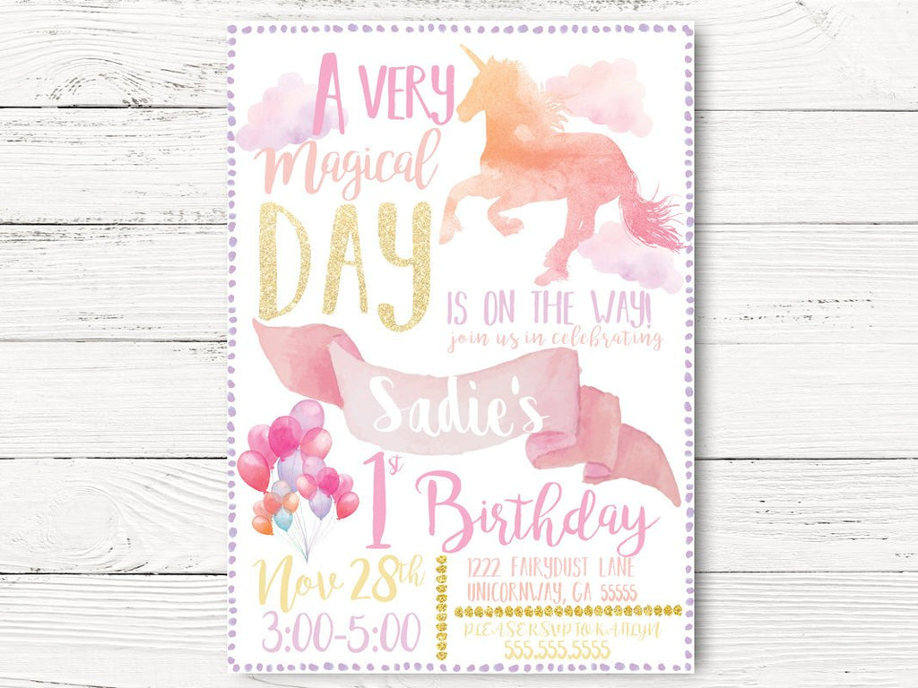 Unicorn Invitation, Unicorn First Birthday Invite, Baby Girl Birthday, Magical invitation,  Invite, Unicorn Birthday Party ,  C069