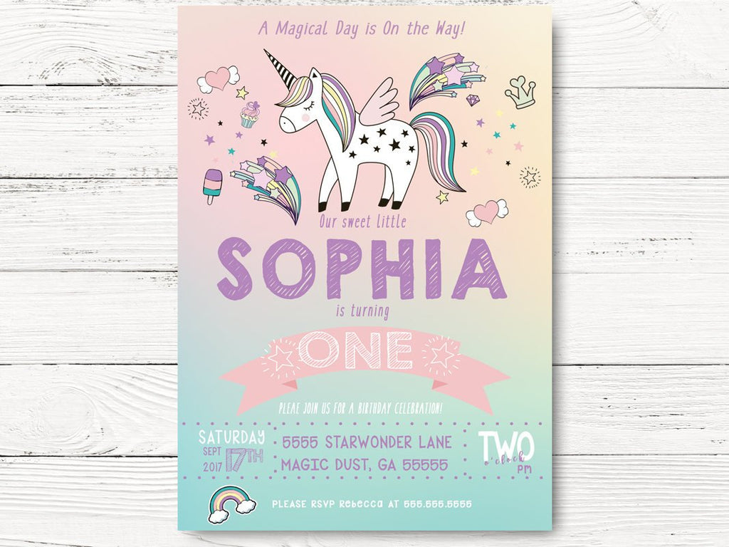 Digital Unicorn Invitation Party Birthday Invite Baby Girl Magical