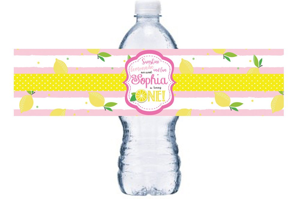 Pink Lemonade Water Bottle Labels, Lemon Bottle Wrap, Birthday Waterproof Adhesive Stickers, Lemonade -theme Birthday, BL048