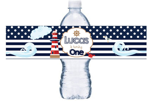 Nautical Birthday Party Water Bottle Label, Nautical Bottle Label, Ahoy First Birthday Bottle Wrap, Lighthouse Bottle Label,  BL055