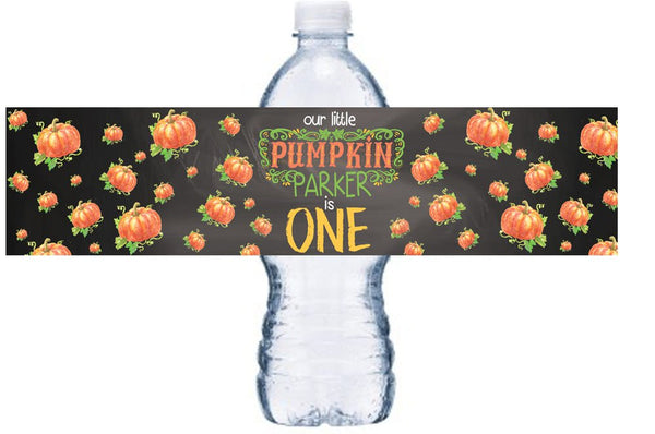 Our Little Pumpkin Waterproof Water Bottle Label, Chalkboard Pumpkin Bottle Wrap, Fall  Waterproof Adhesive Sticker, BL057