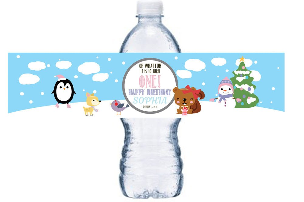 Christmas Themed 1st Birthday Party.Pink Winter 1st Birthday Bottle Label