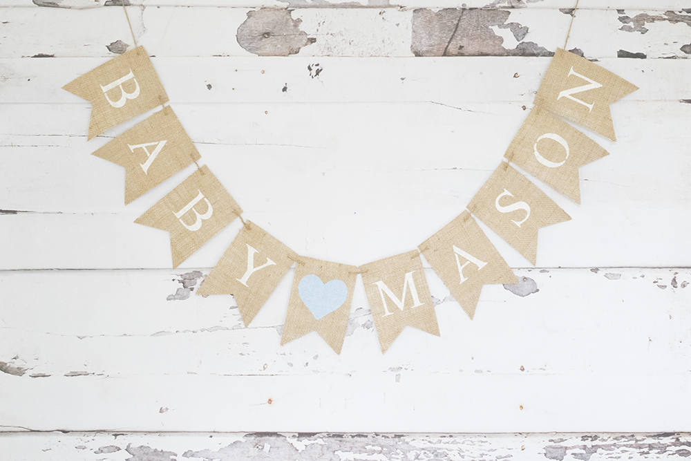 Baby Shower Decor, Custom Baby Banner, Boy Nursery Decoration, Pregnancy Announcment Photo Prop, Burlap Banner, Boy Baby Shower Decor, B911