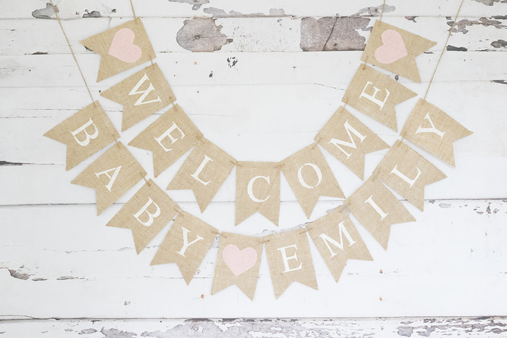 Baby Shower Decor, Welcome Baby Banner, Baby Shower Decor, Pink Baby Shower Decoration, Personalized Baby Girl Baby Shower Garland, B913