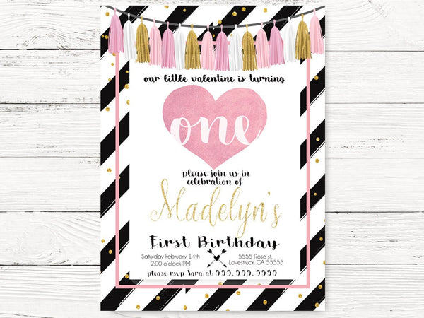 Valentine's First Birthday Invitation, Pink & Gold Invitations, Valentine's Baby Girl Invites, Party Cards, Valentine's  Invitations, C088
