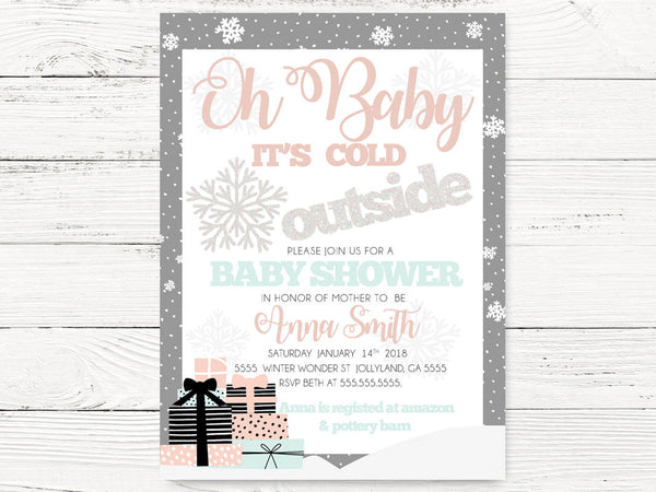 Winter Baby Shower  Invitations, Christmas Baby Shower , Holiday Invitations, Xmas Invitations, Holiday Baby Shower, C085