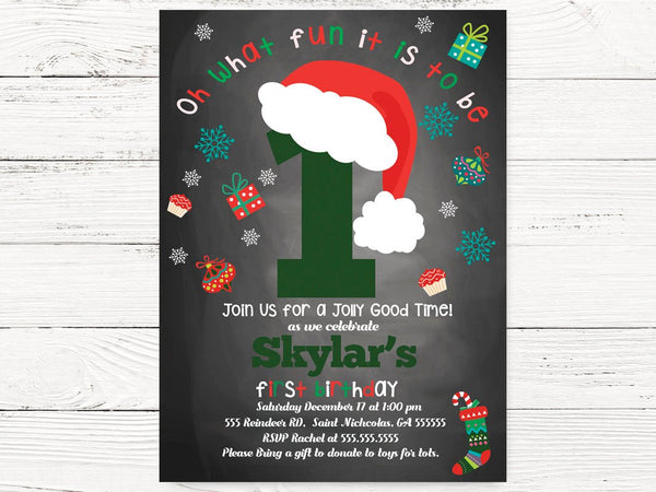 Christmas First Birthday Invitations, Baby Christmas  Theme Birthday, Chalkboard Christmas , Invite, Christmas Birthday Invitation, C086
