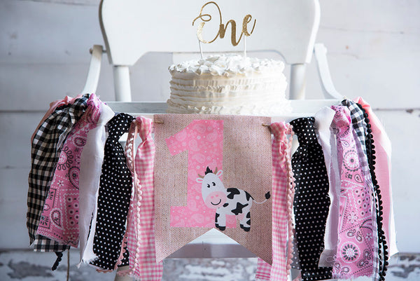 Farm 1st Birthday Decor, Pink Farm Highchair Banner, Baby Cow Banner, Farmyard Animal Banner, First Birthday Party, Cake Smash Prop, HC006