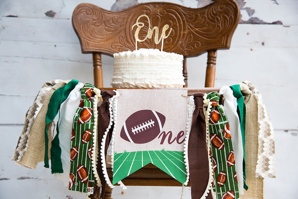 Football First Birthday Decor, Football Party Banner, Football Banner, Football Highchair Banner, First Birthday Party, HC032