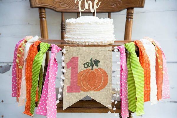 Fall 1st Birthday Banner, Fall Birthday Decor, Little Pumpkin Sign, Pumpkin Highchair Banner, Cake Smash Prop, Fall Party Photo Prop, HC001